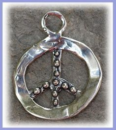 Sterling Silver Artisan  Knobby PEACE SIGN SYMBOL by cathydailey, $18.78