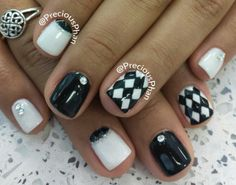 Black and white, checker nails