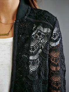 Looking for a Lace Bomber Jacket. Cool Bomber Jackets, Pearl And Lace, Outerwear Jackets, How To Look Better, Chic, My Style, Sweaters, How To Wear, Fall 2016