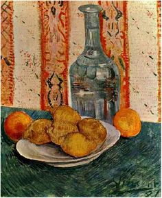 Still Life with Decanter and Lemons on a Plate - Vincent van Gogh . Created in Paris in Spring, Located at Van Gogh Museum Artist Van Gogh, Van Gogh Art, Van Gogh Museum, Art Van, Pierre Auguste Renoir, Manet, Van Gogh Still Life, Vincent Willem Van Gogh, Van Gogh Paintings