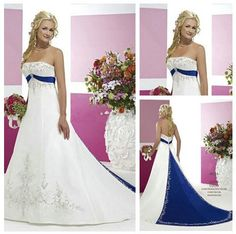 Satin Wedding Dresses - Cheap White and Royal Blue Wedding Dress, Buy Quality silver embroidery wedding dress directly from China plus size white red wedding dress Suppliers:White and Royal Blue Wholesale Wedding Dresses, 2015 Wedding Dresses, Wedding Attire, Bridal Dresses, Wedding Gowns, Bridesmaid Dresses, Wedding Dresses With Blue, Wedding Colors, Wedding Ideas