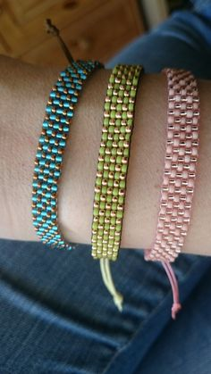 Loom beaded bracelet with waxed cord or other by Suusjabeads Bracelet perlé Loom avec cordon ciré ou Loom Bracelet Patterns, Bead Loom Bracelets, Bead Loom Patterns, Beaded Jewelry Patterns, Beading Patterns, Diy Crafts Jewelry, Bracelet Crafts, Loom Bands, Bead Loom Designs