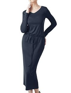Elbon Boutique Women Longsleeve Comfy Dress with Waist String NAVY L >>> Check out this great product.