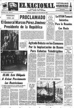 Primera página de El Nacional el 21 de diciembre de 1957.