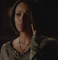 Bonnie's steel blue henley top on The Vampire Diaries