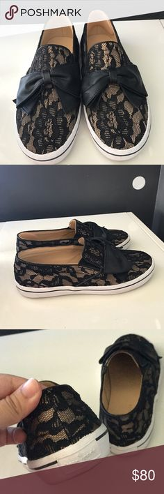 """Kate Spade Delise Slip-On Sneakers From Nordstrom description- """"A lovely leather bow adorns a classic-profile sneaker with an elastic-gored instep for effortless fit. Leather and textile upper/leather lining/rubber sole."""" True to size. EUC, too small for me. No trades, no low offers but discount is available when bundled. No box but will ship carefully. kate spade Shoes Sneakers"""