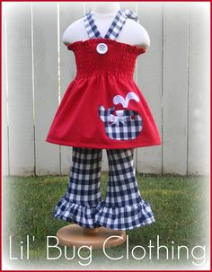 Custom Boutique Clothing Plaid Nautical 4th of by LilBugsClothing, $45.00