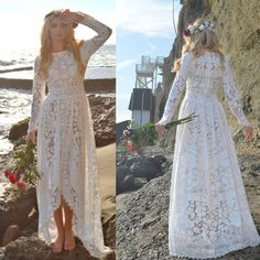 Vintage Lace Victorian Edwardian Fishtail Wedding Dress Hippie Boho... ($548) ❤ liked on Polyvore featuring dresses, grey, women's clothing, vintage lace dress, victorian dress, hi low dress, draped dress and bohemian dresses