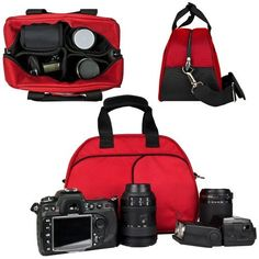 Vangoddy Mythra Red Medium Entry Level Canon DSLR & SLR Camera Bag For: Canon EOS Rebel T3, T3i, 12.2 MP, 18 MP, Canon EOS Rebel T2i 18 MP CMOS APS-C, Canon EOS Rebel T1i 15.1 MP CMOS, Canon EOS 60D CMOS, Canon EOS 7D CMOS, Canon EOS 5D Mark II (Mark 2) Full Frame CMOS, Canon Rebel XS, Body Only, Or with Lens (Canon EF-S 18-55mm f/3.5-5.6 IS Lens, Canon EF 75-300mm f/4-5.6 III Telephoto .... $25.99. Vangoddyâ?TMs Mythra Collection universal Bowlers SLR Bag is made for style...