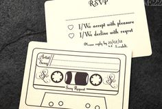 Wedding RSVP with song requests, so that you won't have to give your DJ a list of songs that you hope your guests won't hate. Plus, everyone can get their own little tune in there, from the kids to the grandparents. Genius! | The 7 coolest and most unique wedding ideas we love