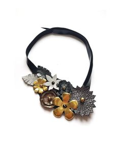 Leather Bib Necklace, Statement Necklace, Silver Golden Flowers, Up-cycled Floral Choker, Nature Jewelry, Adjustable Asymmetric Head Piece