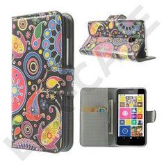 Moberg (Farverige Blomster) Nokia Lumia 630 / 635 Læder Flip Etui