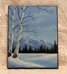 Snowy Landscape original acrylic painting on by WindOnThePrairie, $80.00