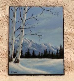 Snowy Landscape original acrylic painting on by WindOnThePrairie, $80.00