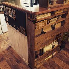malco-yanさんの、棚,DIY,かご,黒板塗料,IKEAリメイク,本棚DIY,ベニヤ板で板壁風,のお部屋写真