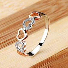 $ 123.49 NSCD 2 Point Romantic Heart 925 Silver Ring