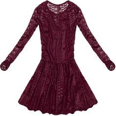 KORONKOWA SUKIENKA ROZKLOSZOWANA BORDOWA (9910) bordowy | Dla Niej \ Sukienki | Goodlookin.pl