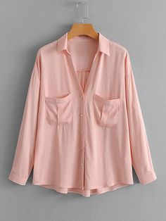 7bf977a68d5f1 Faux Pearl Button Drop Shoulder Blouse -SheIn(Sheinside) Pink Long Sleeve  Tops