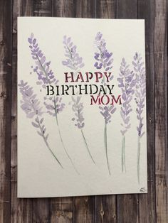 Excited to share this item from my shop: Birthday card for Mom, Watercolor Mom Birthday Card, Homemade Mom Birthday Card card Lavender Mom Birthday Card, Watercolor Mom Birthday Card, Homemade Birthday Cards