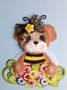 Bumblebee Garden Girl Tear Bear Scrapbook Paper Piece ELITE4U 3PAPERWISHES | eBay