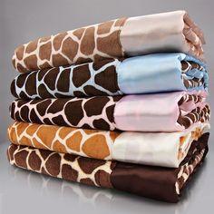 Giraffe Velour Baby Blanket
