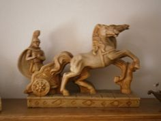 Vintage Classic Roman Gladiator Soldier Chariot & 2 Horses by ProspectorCollection on Etsy