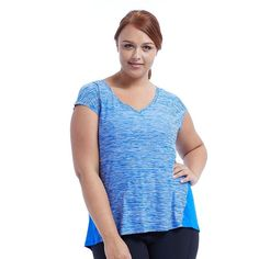 Plus Size Marika Charged V-Neck Tee, Women's, Size: 3XL, Blue