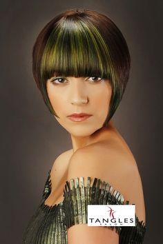 Tangles Salon, Wichita Falls, TX. Hair Color, Goldwell Hair Color, Hair Style, Hair, Runway Hair, Green Hair, Bob Hair, Short Hair