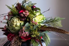 Bramble Floral Design | Portland Florist | Portland Weddings | Oregon Weddings | Bridal bouquet | woodland bouquet feathers artichoke veggie gold eucalyptus cedar kale