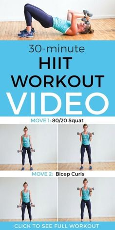 Grab this full workout video to help you get fit at home and reach your wellness goals!  This HIIT workout is the perfect way to strengthen your body and tone and tighten your problem areas. Click through for our free workout video! || Nourish Move Love #hiit #workoutvideo #athomeworkouts #nourishmovelove