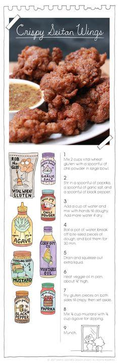 The Vegan Stoner's Crispy Seitan Wings - Vegan Appetizers Seitan Recipes, Vegetarian Recipes, Cooking Recipes, Healthy Recipes, Vegetarian Options, Top Recipes, Pasta Recipes, Recipies, Vegan Stoner