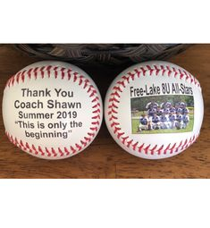 Custom made double side print baseballs using your photos, text and team logo. Plus, there's plenty of room for signatures. Baseball Gifts, Sports Gifts, Baseball Mom, Baseball Players, Team Mom, Coach Gifts, Personalized Gifts, Logo, Photos
