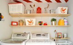 These shelves in the Laundry Room are so easy to make!