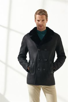 JEFF Men Casual Navy Blue Shearling Coat Black Noble   Luxury Shearling Black Shearling Coat, Mens Shearling Jacket, Double Breasted, Navy Blue, Men Casual, Pure Products, Clothes, Turkey, Coats