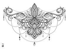 Full Body Tattoo, Body Art Tattoos, Sleeve Tattoos, Sternum Tattoo Design, Lace Tattoo, Chest Tattoos For Women, Sexy Tattoos For Girls, Chest Piece Tattoos, Tatouage Abdomen