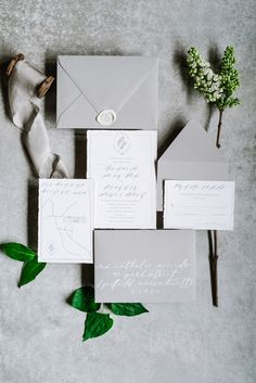 Pretty gray invitation suite: Photography : Annmarie Swift Photography Read More on SMP: www. Grey Wedding Invitations, Wedding Stationary, Original Wedding Invitations, Wedding Paper, Wedding Cards, Gray Wedding Colors, Wedding Black, Spring Wedding, Gold Wedding
