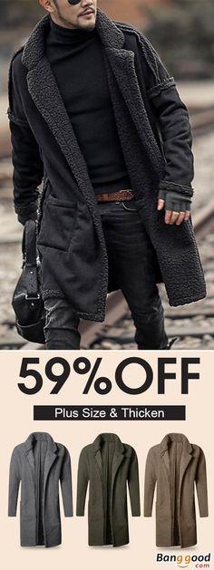 2cd324dcf5d28 Men s Plus Size Wool Blend Double Side Wearable Thicken Warm Fur Wool Blend  Mid Long Coats