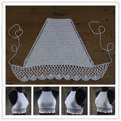 Crochet Dress Baby Tank Tops 44 New Ideas Crochet Bra, Crochet Summer Tops, Crochet Halter Tops, Crochet Crop Top, Crochet Woman, Crochet Clothes, Knitting Yarn, Knitting Patterns, Crochet Patterns