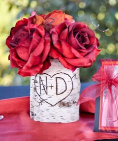 Personalized Heart And Arrow Birch Bark Wood Vase by braggingbags, $14.99