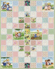 Childhood Memories Quilt Kit Fabric.  Good layout for some prints.
