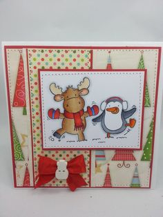 Christmas Moose & Penguin - Handmade Card. $7.00, via Etsy.