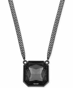 Kenneth Cole New York Necklace, Hematite-Tone Square Faceted Crystal Pendant Necklace