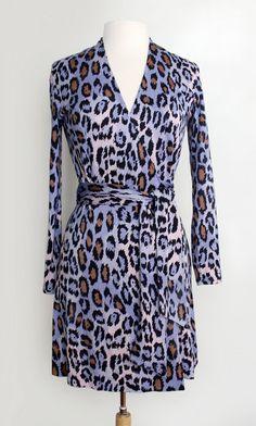 e67e866e16 Vintage 90s Diane Von Furstenberg Rare Purple Leopard Print Wrap Dress at  CutandChicVintage