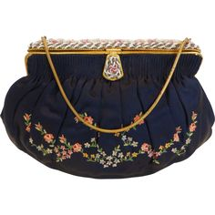 Elegant French Denise Francelle Tambour Silk Embroidered Evening Bag w Beaded Frame