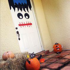 Halloween front door. Used an idea I found on Pinterest!