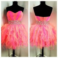 Beautiful colorful strapless mini prom dress, gown with beaded belt from Sweetheart Dress Orange Prom Dresses, Mini Prom Dresses, Neon Dresses, High Low Prom Dresses, Grad Dresses, Dresses For Teens, Dance Dresses, Pretty Dresses, Beautiful Dresses