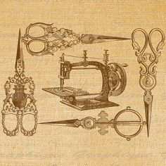 Antique Sewing Machine Ornate Scissors Frame by graphiquesepia