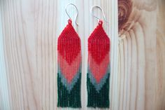 long and flat FIRE brickstitched delica seed bead by eartifact, $100.00