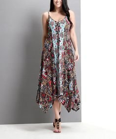 Another great find on #zulily! Gray Paisley Handkerchief Maxi Dress - Plus by Reborn Collection #zulilyfinds