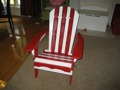 Painted Red and White Adirondack Chair